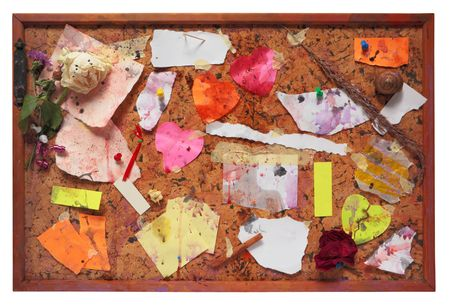 pinboard: Grungy pinboard, worn and dirty,isolated on white background,free copy space