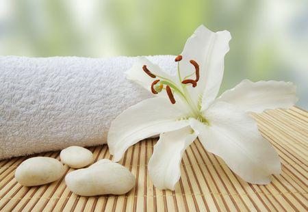 wellness still life pebbles and white madonna lily, high key studio shot Stock Photo