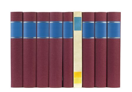 books in a row, isolated on white backgrond,empty labels with free copy space photo