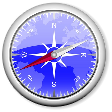 detailed compass, conceptual travel vector illustration Vector