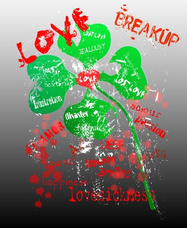 lovesickness: grungy love and breakup concept, vector format Illustration