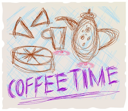 coffee and cake, illustration,vector, coffee time Vector