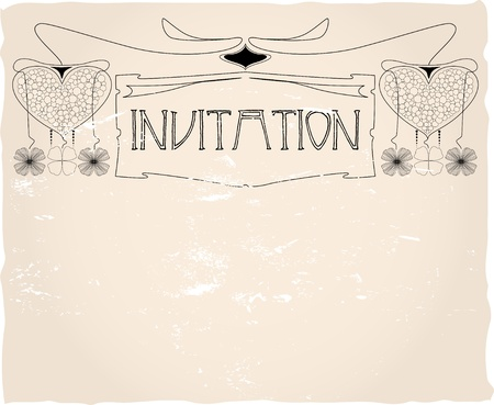 Vintage invitation card template, vector design Stock Illustratie