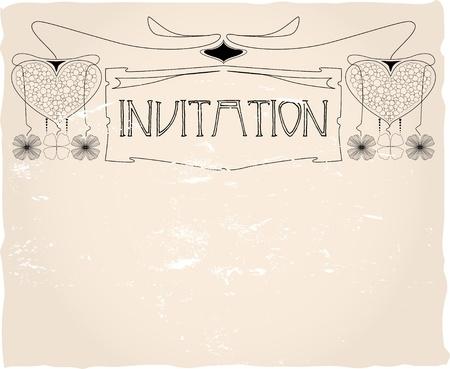 Vintage invitation card template, vector design Vector