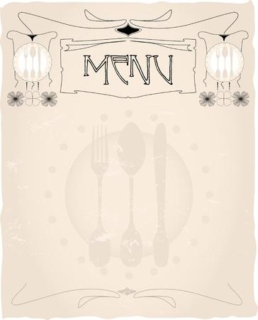 tasteful vintage menu card design layout,vector,free copy space Vector