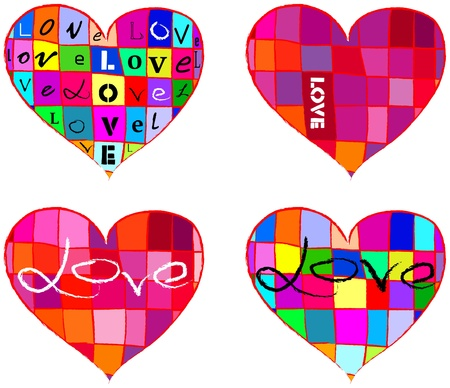 �ard: set of hearts, vecotr illustration