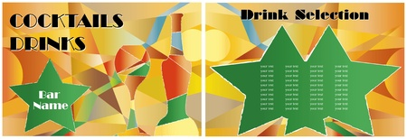 Drink and cocktail card design template, two pages, free copy space Vector