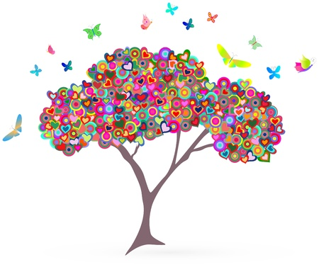 reflection of life: fashionable love concept: tree with hearts and butterflies