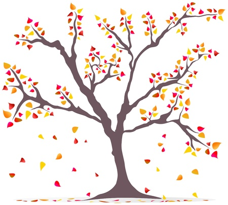 tree outline: fashionable illustration: tree with falling leaves, autumn, concept