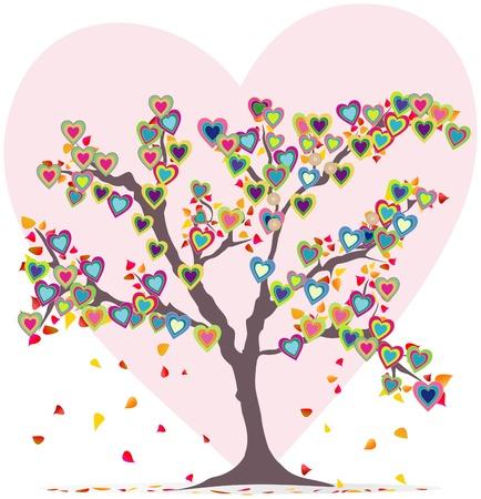 hartje cartoon: Boom met bladeren en harten, liefde symbool