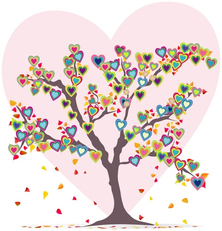 Tree with leaves and hearts, love symbol Illustration