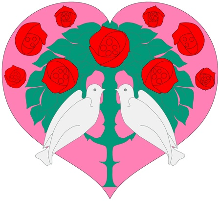 fashionable love concept, heart with two doves and red roses Vector