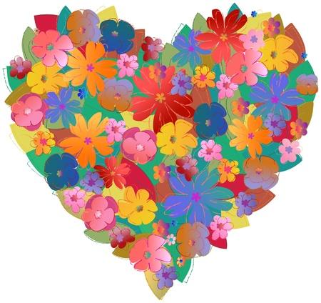 fashionable flower heart, love concept, vector