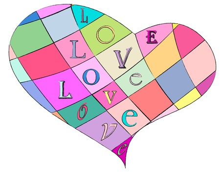 loveheart: multicolored loveheart, vector illustration