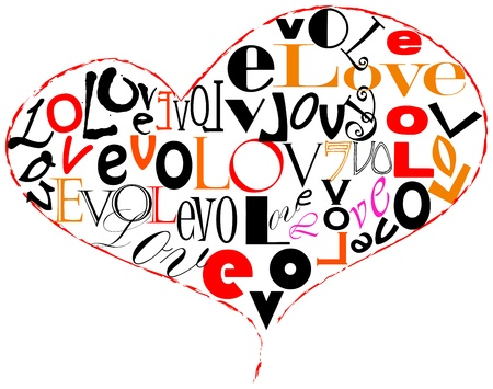 love design with the word love and a heart