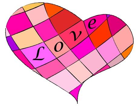 ard: multicolored, patterned heart , vector illustration