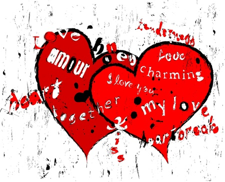 amour: love design with words of love and hearts, grungy