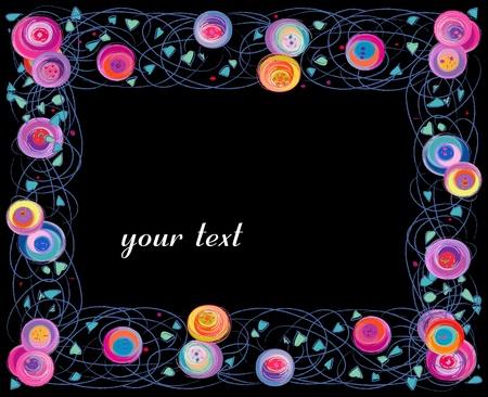 artistic spring flower frame, isolated on black background Stock Photo