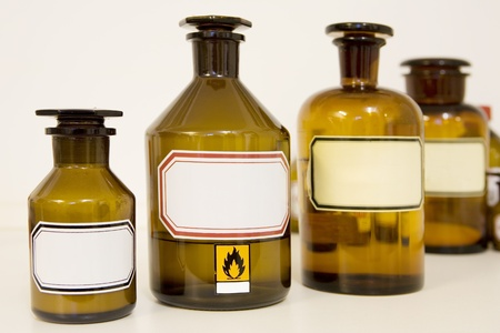 medicine bottles, blank labels, free copy space photo