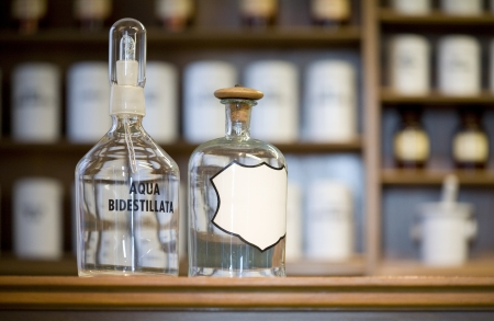 apothecary: medicine bottles, blank label, free copy space
