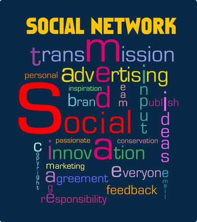 social networking and media various words and styles,illustration Vector