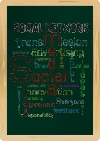 social network concept,blackboard, illustration Vector