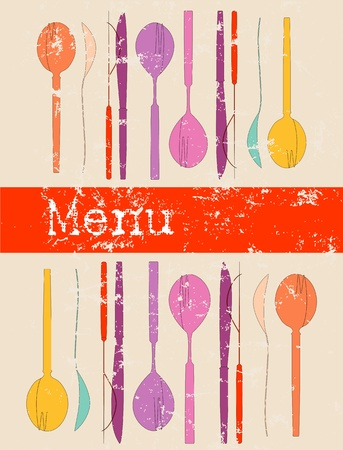 fork and spoon: menu card, design template, free copy, space, illustration
