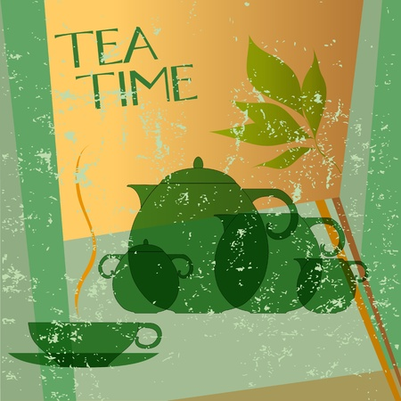 teacup: tea menu card, design template, copy space