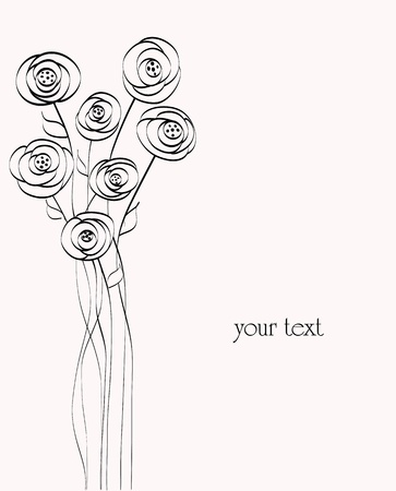 artificial flower illustration, free copy space