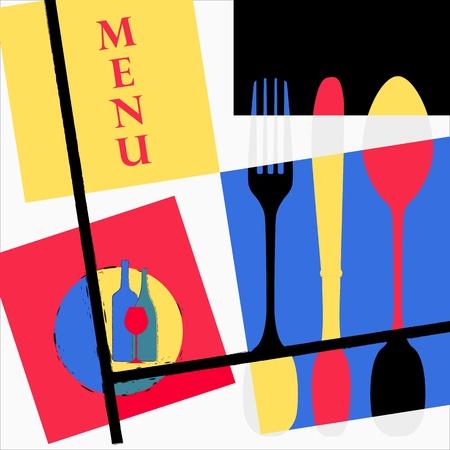 mondrian: Restaurant menu card design template, Mondrian inspired