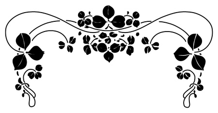 pictorial art: Floral ornament with leafs, retro design, vector illustration