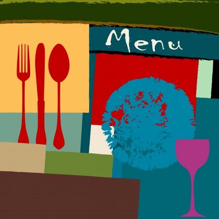 wineglass: menu card design template for restaurant, copy space