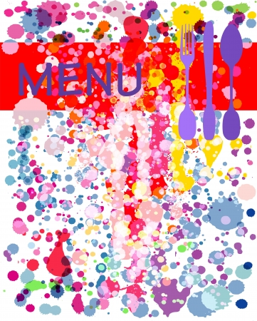 recipe card: menu card design template with paint splatters, copy space