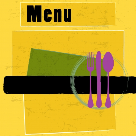 holiday dinner: restaurant menu card design template, copy space Illustration