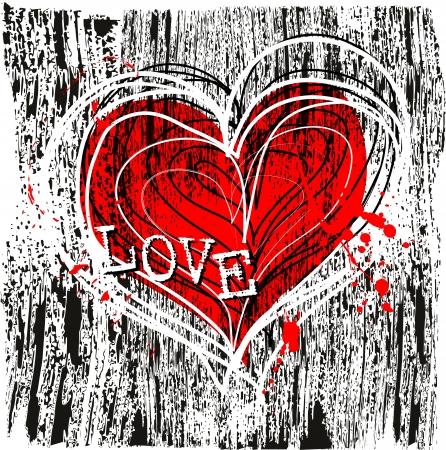 hintergrund liebe: Liebe und Herz-Design, grungy
