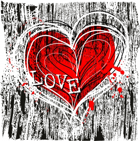 love letters: love and heart design, grungy Illustration
