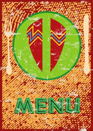African style menu card Illustration
