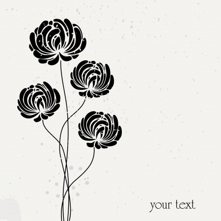 aster flowers: abstract flower design, vintage style, free copy space Illustration