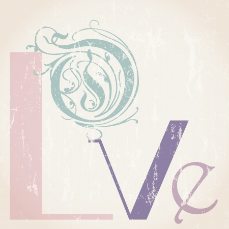 love concept with word letter, retro vintage style Vector
