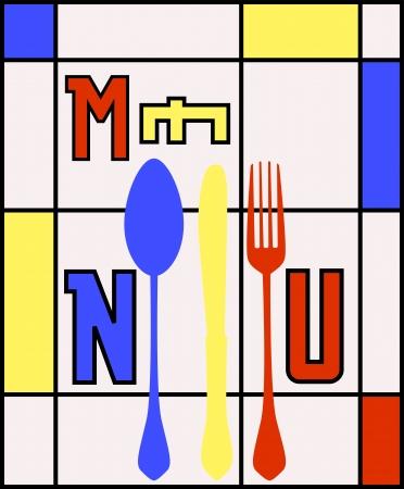 drink tools: menu card design template for restaurant, illustration