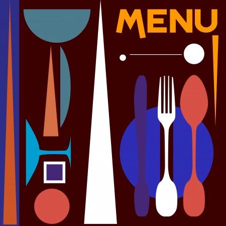 restaurant menu design template, modern art, copy space photo