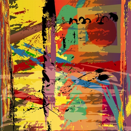 abstract background illustration, with paint strokes, splashes and square Stockfoto