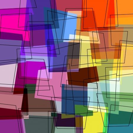 modern art: abstract colorful background, with trapeze and lines, retro style Stock Photo