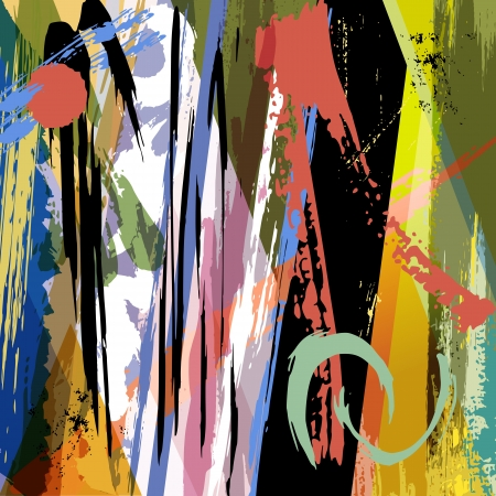 modern art painting: abstract background, paint strokes, splashes and triangle