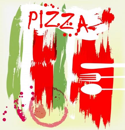 pizzeria label design: Pizza menu, artificial, grungy style