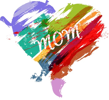stoke: Mothers day illustration,heart with paint strokes