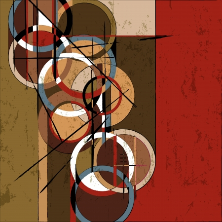 abstract painting: abstract circle background, retrovintage style with paint strokes and splashes