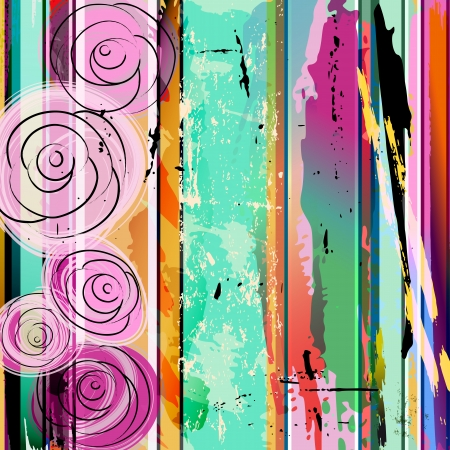 abstract background composition with roses, strokes, splashes and geometric lines Vector