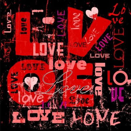 vector hearts: love illustration, hearts and words, grungy style, vector Illustration