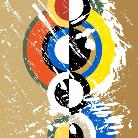 abstract circle background, retrovintage style with paint strokes and splashes, grungy